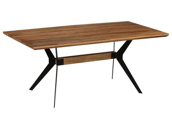 vidaXL Stół do jadalni z litego drewna akacjowego i stali, 180x90x76cm