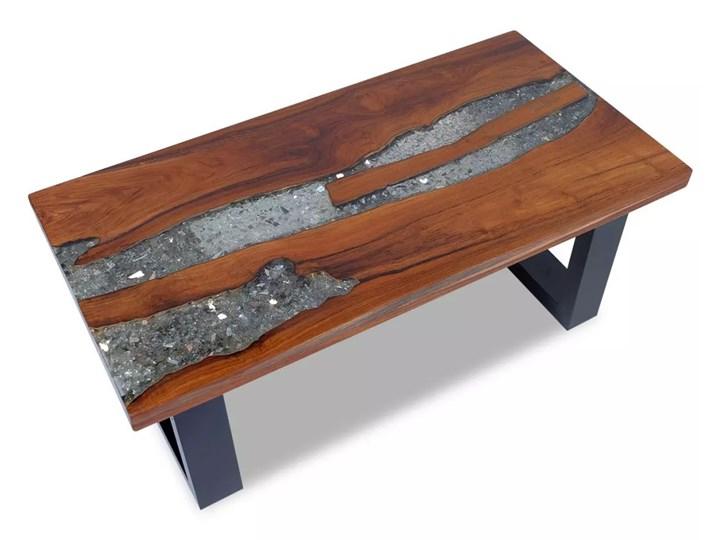vidaXL Stolik kawowy z drewna tekowego i żywicy, 100x50 cm Drewno Kategoria Stoliki i ławy