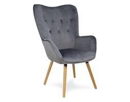 Fotel uszak z weluru na drewnianych bukowych nogach skandynawski do salonu ciemno szary F100DG