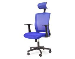 Fotel biurowy obrotowy z regulowanym oparciem i zagłówkiem do biura L208-23 niebieski