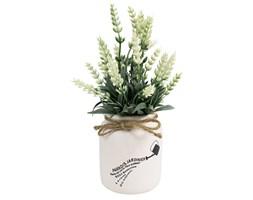 Sztuczna lawenda, roślina biała w ceramicznej białej doniczce 23x8 cm UC30513-01