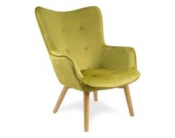Fotel uszak z weluru na drewnianych bukowych nogach skandynawski do salonu musztardowy F200M