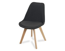 Krzesło na drewninaych bukowych nogach tapicerowane z poduszką nowoczesne stylowe grafitowe 007Y