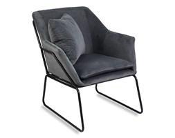 Fotel wypoczynkowy industrialny komfortowy loft do salonu welur F507G szary
