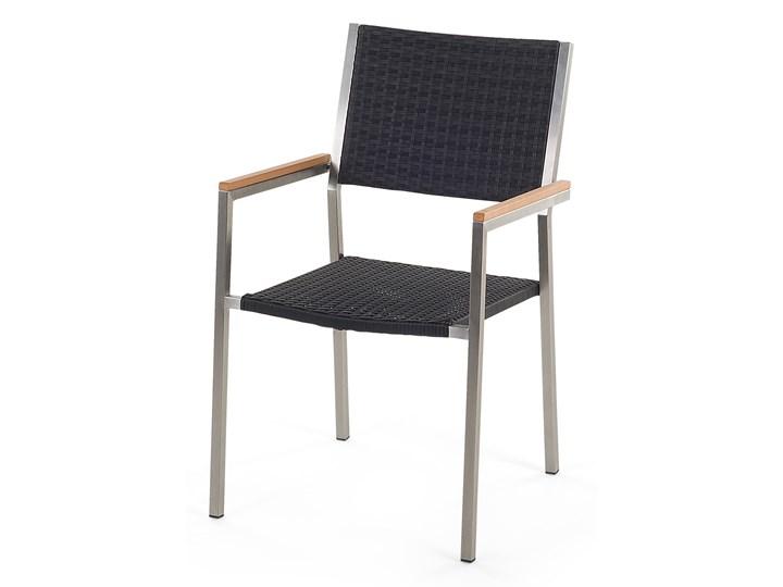 Zestaw mebli ogrodowych jadalniany czarny stół granit/bazalt 220 x 100 cm 8 krzeseł z technorattanu sztaplowanych Stoły z krzesłami Stal Kategoria Zestawy mebli ogrodowych