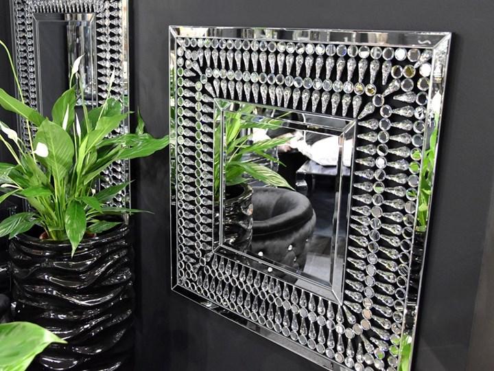 Lustro z  kryształkami Careo Cristall Prostokątne Lustro bez ramy Ścienne Kolor Srebrny
