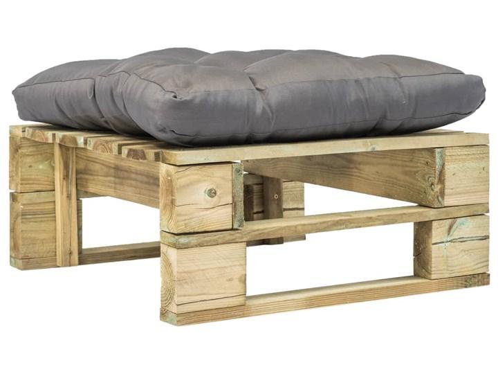 vidaXL Ogrodowe siedzisko z palet z szarą poduszką, drewno FSC Podnóżek ogrodowy Pufa ogrodowa