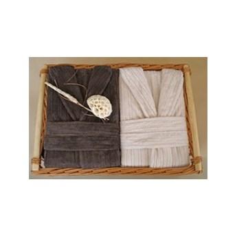 2 Męskie Szlafroki Bonjour w Ozdobnym Koszu na Prezent Greno M krem, M czekolada