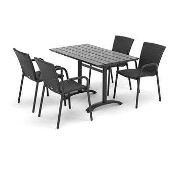 Zestaw mebli zewnętrznych VIENNA + PIAZZA: stół + 4 krzesła, technorattan, czarny