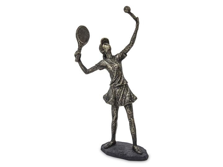 Rzeźba Dziewczyna gra w tenisa 22,5 cm Tworzywo sztuczne Kamień Kolor Szary