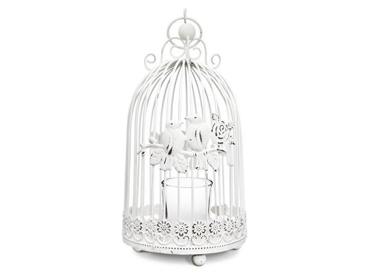 Biały świecznik klatka na świecę Droma