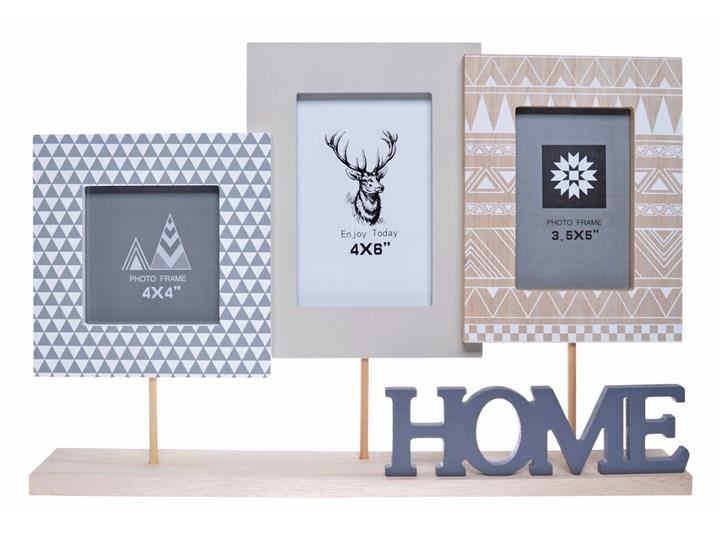 Multiramka na zdjęcia z napisem Home Avor Kolor Szary Drewno Kategoria Ramy i ramki na zdjęcia