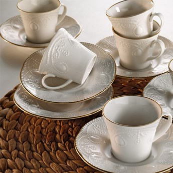 Zestaw 6 porcelanowych filiżanek na kawę ze spodkami Stitched