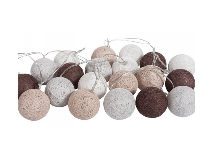 Lampki Dekoracyjne Kule Cotton Balls 20 Kul Szaro Brązowe