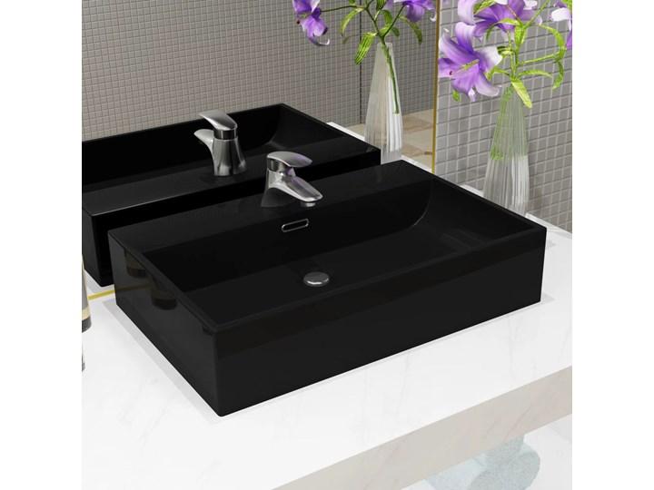 vidaXL Umywalka z ceramiki z otworem na kran 60,5x42,5x14,5 cm, czarna Szkło Ceramika Szerokość 61 cm Kolor Czarny
