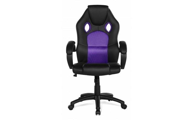 Beliani Krzesło biurowe fioletowe meble biurowe fotel