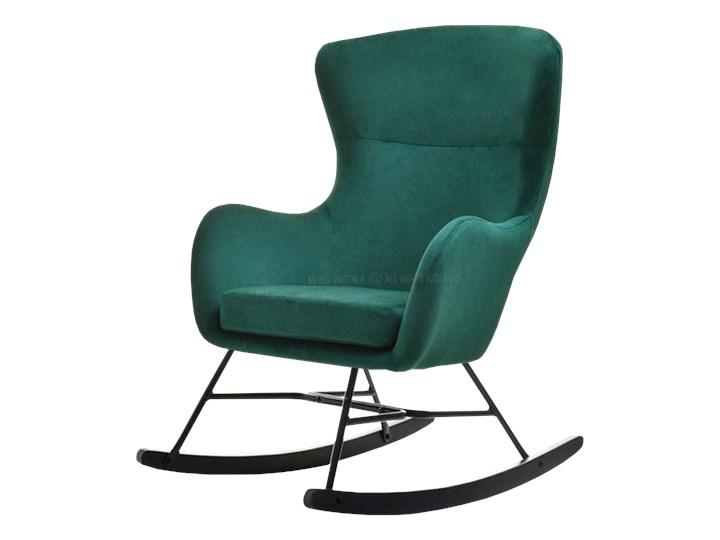 Fotel bujany Nesta zielony na czarnych płozach