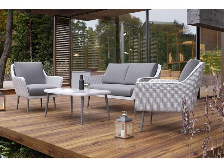 Meble ogrodowe MONZA royal białe Stoły z krzesłami Aluminium Tworzywo sztuczne Zestawy wypoczynkowe Technorattan Styl Awangardowy Kolor Szary