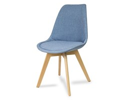 Krzesło tapicerowane z poduszką nowoczesne stylowe na drewnianych bukowych nogach niebieski 007X
