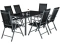 Zestaw ogrodowy KLASSIK meble ogrodowe szklany stół 150 cm + 6 krzeseł Aluminium Zestawy wypoczynkowe Stoły z krzesłami Aluminium Zawartość zestawu Z fotelem