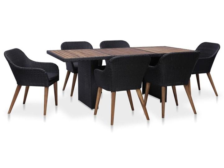 vidaXL Meble ogrodowe z poduszkami, 7 części, polirattan, czarno-szare Tworzywo sztuczne Tworzywo sztuczne Zawartość zestawu Ze stołem Technorattan Stoły z krzesłami Technorattan Zawartość zestawu Z krzesłem