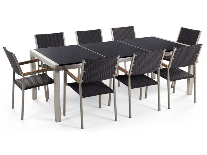 Zestaw mebli ogrodowych jadalniany czarny stół granit/bazalt 220 x 100 cm 8 krzeseł z technorattanu sztaplowanych Kategoria Zestawy mebli ogrodowych Stoły z krzesłami Stal Zawartość zestawu Krzesła