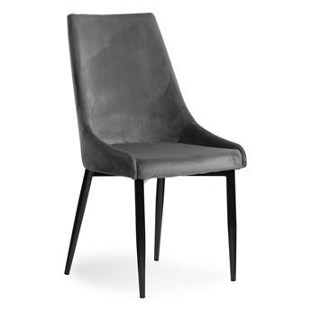 Krzesło LUSILL ST szary aksamit / czarny