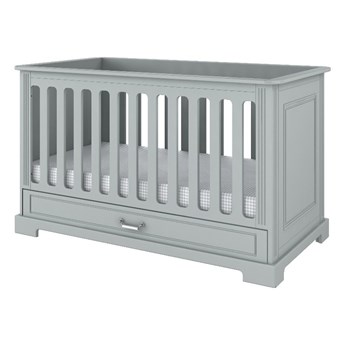 Szare łóżeczko dziecięce z szufladą BELLAMY Ines, 70x140 cm