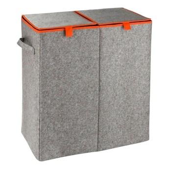 Szaro-pomarańczowy podwójny kosz na pranie Wenko Duo, 82 l