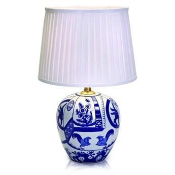 Niebiesko-biała duża lampa stołowa Markslöjd Goteborg, wys. 48 cm