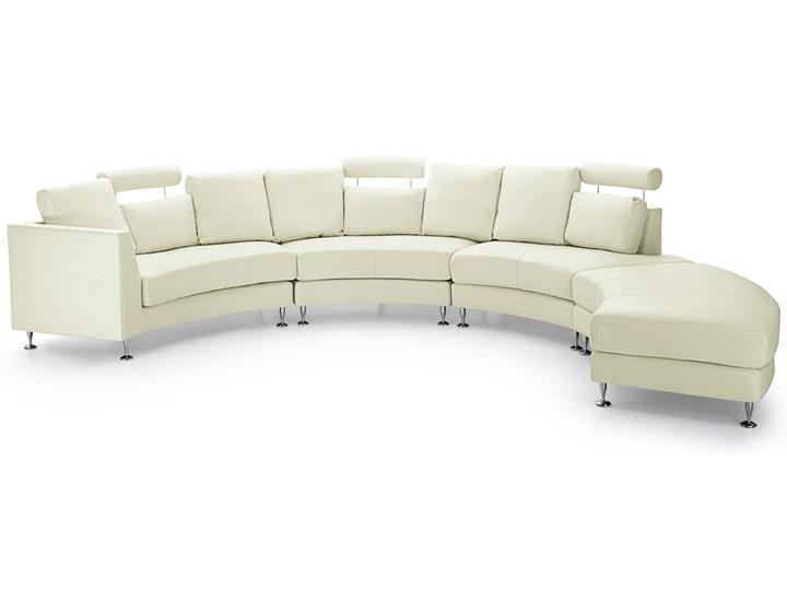Sofa półokrągła kremowa skórzana 8 miejsc moon salon duży pokój nowoczesna