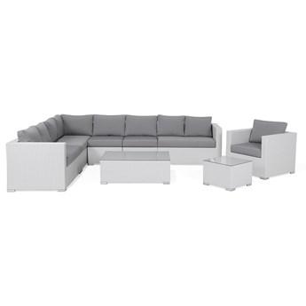 Zestaw ogrodowy biały technorattan szare poduszki meble modułowe narożnik fotel stoliki