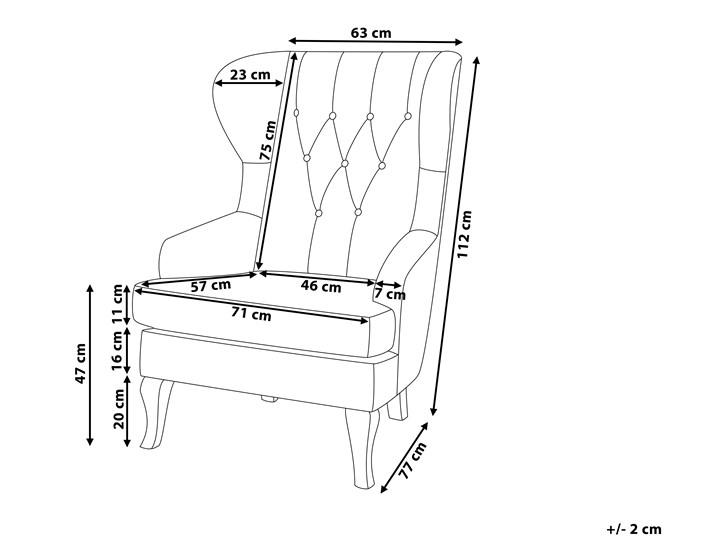 Fotel uszak beżowy tapicerowany pikowany wysokie oparcie vintage retro salon Fotel tradycyjny Fotel pikowany Styl Nowoczesny Drewno Tworzywo sztuczne Tkanina Styl Klasyczny