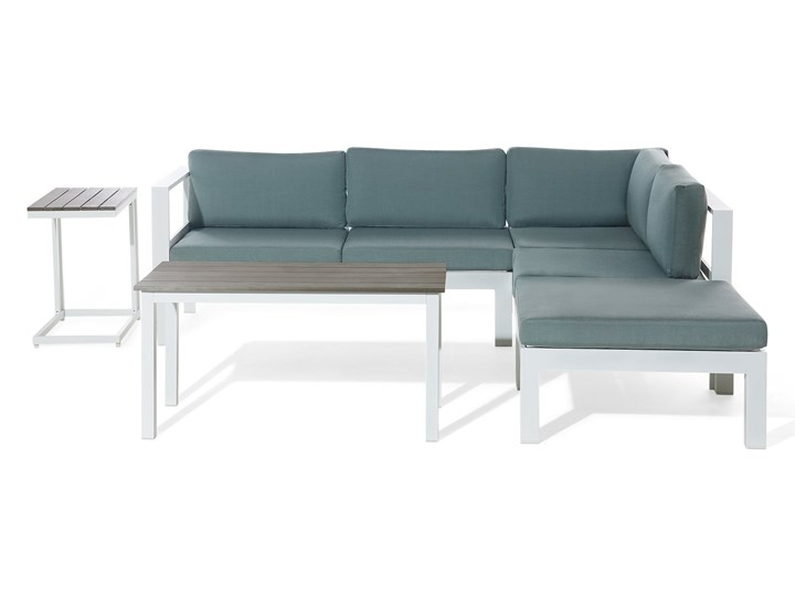 Zestaw mebli ogrodowych 6-osobowy biały aluminium zielone poduszki narożnik pufa stół stolik Kategoria Zestawy mebli ogrodowych Zestawy modułowe Zestawy wypoczynkowe Tworzywo sztuczne Zawartość zestawu Sofa
