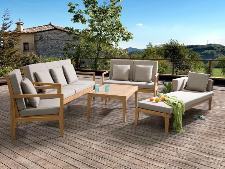 Zestaw ogrodowy brązowy jasne drewno akacjowe 2 ławki 1 fotel 1 leżak 1 stół poduchy retro Zestawy kawowe Zestawy wypoczynkowe Styl Nowoczesny Tworzywo sztuczne Zawartość zestawu Fotele