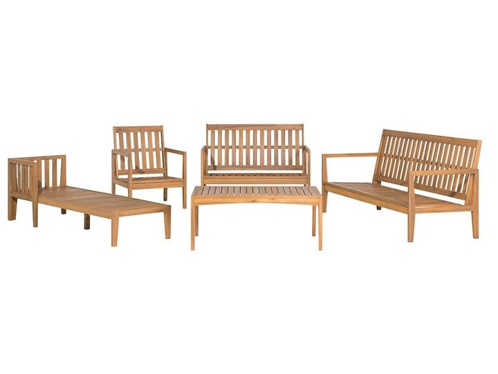 Zestaw ogrodowy brązowy jasne drewno akacjowe 2 ławki 1 fotel 1 leżak 1 stół poduchy retro Styl Vintage Tworzywo sztuczne Zestawy kawowe Zestawy wypoczynkowe Styl Nowoczesny