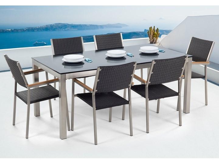 Zestaw mebli ogrodowych jadalniany czarny stół szkło hartowane 180 x 90 cm 6 krzeseł czarnych z technorattanu sztaplowanych Stoły z krzesłami Stal Kolor Szary