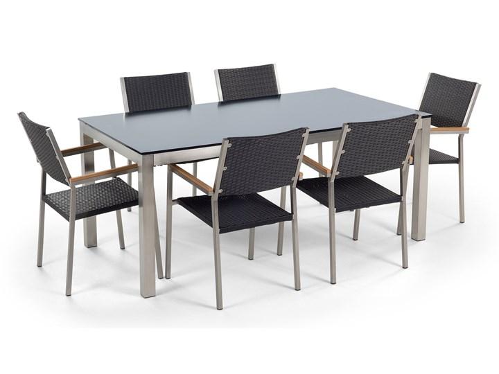 Zestaw mebli ogrodowych jadalniany czarny stół szkło hartowane 180 x 90 cm 6 krzeseł czarnych z technorattanu sztaplowanych Stal Stoły z krzesłami Zawartość zestawu Krzesła