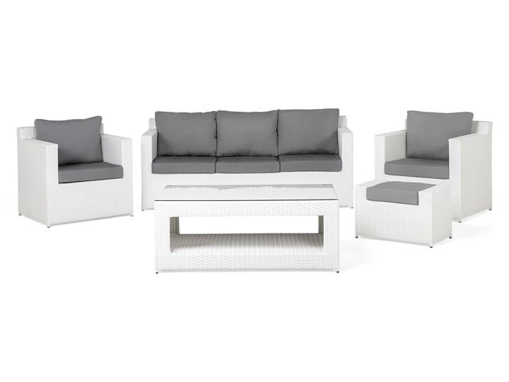 Zestaw mebli ogrodowych 5-osobowy biały rattan szare poduszki sofa 2 fotele pufa stolik Zestawy wypoczynkowe Tworzywo sztuczne Technorattan Aluminium Styl Nowoczesny