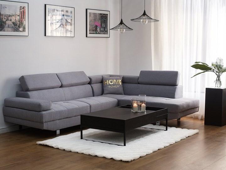 Narożnik lewostronny jasnoszary tapicerowany 5 osobowa sofa z regulowanymi zagłówkami Typ Gładkie Szerokość 261 cm Kategoria Narożniki