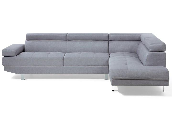 Narożnik lewostronny jasnoszary tapicerowany 5 osobowa sofa z regulowanymi zagłówkami Szerokość 261 cm Strona Lewostronne