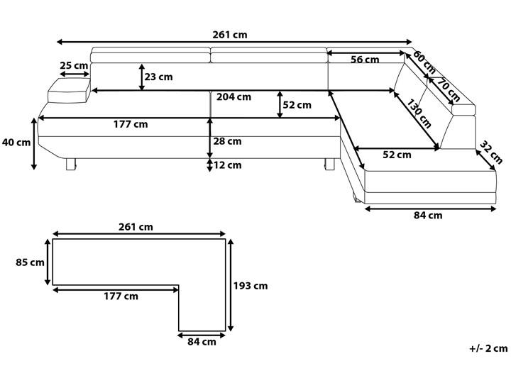 Narożnik lewostronny jasnoszary tapicerowany 5 osobowa sofa z regulowanymi zagłówkami Szerokość 261 cm Typ Gładkie Strona Lewostronne