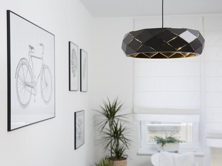 Lampa wisząca czarna metalowa 121 cm ażurowa geometryczny klosz 3 żarówki nowoczesna Lampa inspirowana Styl Nowoczesny Tworzywo sztuczne Kategoria Lampy wiszące
