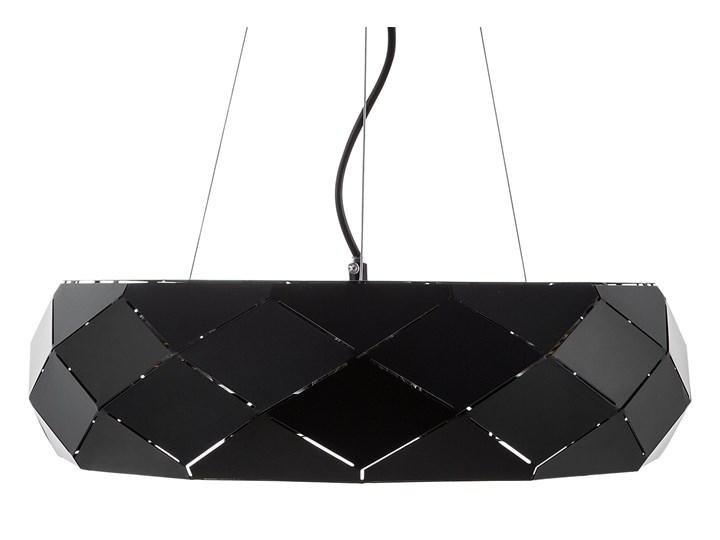 Lampa wisząca czarna metalowa 121 cm ażurowa geometryczny klosz 3 żarówki nowoczesna Tworzywo sztuczne Lampa inspirowana Kolor Czarny