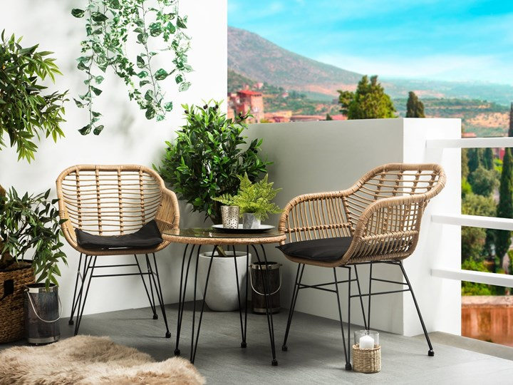 Zestaw balkonowy brązowy rattanowy 2 krzesła 1 stół ze szklanym blatem nowoczesny Stal Technorattan Stoły z krzesłami Zawartość zestawu Stolik