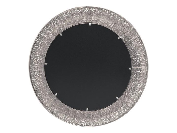 Lustro wiszące ścienne srebrne 80 cm Kategoria Lustra Okrągłe Lustro z ramą Kolor Szary