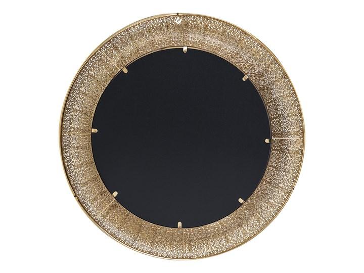 Lustro wiszące ścienne złote 80 cm Okrągłe Lustro z ramą Styl Vintage