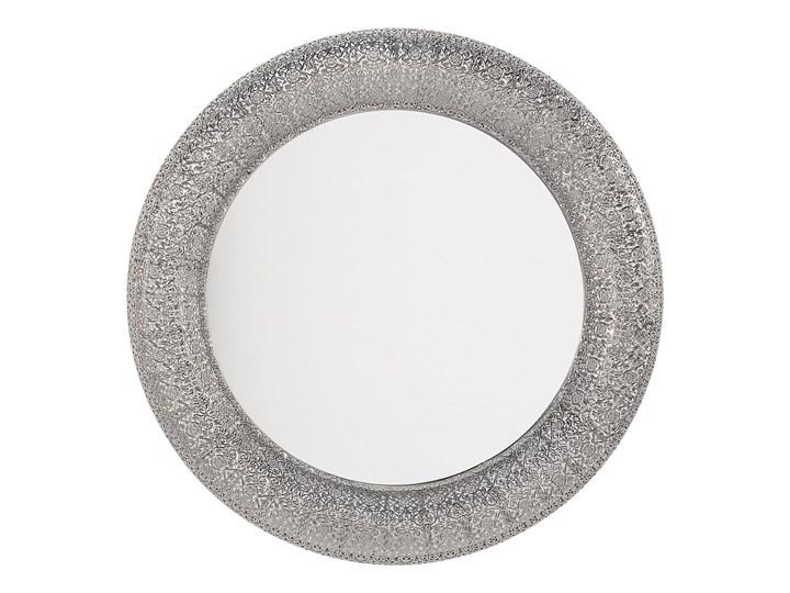 Lustro wiszące ścienne srebrne 80 cm Okrągłe Lustro z ramą Kolor Srebrny
