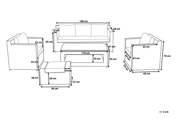 Zestaw mebli ogrodowych 5-osobowy biały rattan szare poduszki sofa 2 fotele pufa stolik Aluminium Zestawy wypoczynkowe Technorattan Tworzywo sztuczne Styl Nowoczesny