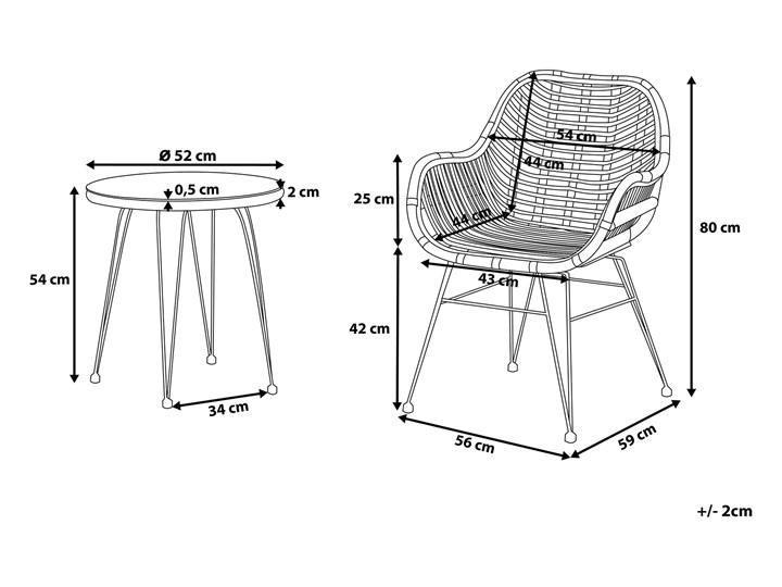 Zestaw balkonowy brązowy rattanowy 2 krzesła 1 stół ze szklanym blatem nowoczesny Stoły z krzesłami Technorattan Stal Kategoria Zestawy mebli ogrodowych